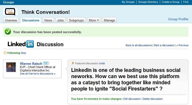 My Linkedin Think Conversation! Group