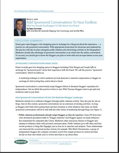 Forrester Research Report on Sponsored Conversations