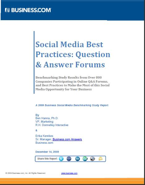 Business.coms 2009 B2B Social Media Benchmarking Study